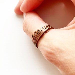 Vintage copper wire strand loop adjustable ring